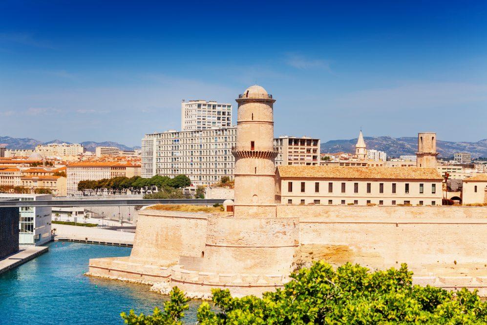 Panorama Of Marseille With Fort Saint-jean In  Old Port In The Foreground