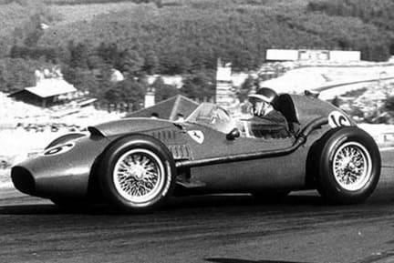 Spa, June 1958: Hawthorn wrestles with the wheel of his Ferrari