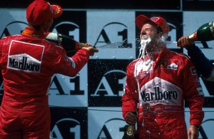 L-R: Michael Schumacher (GER) Ferrari race winner, Rubens Barrichello (BRA) Ferrari, 2nd place