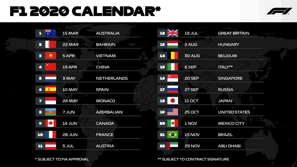 Calendrier 2019 Top 14.F1 Calendar 2020 Enjoy A Record Breaking 22 Races In The
