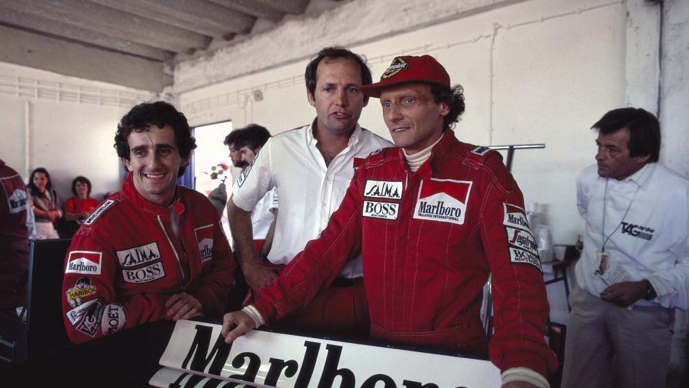 Alain Prost e Niki Lauda nel 1984, rivali e contendenti per il titolo iridato. Foto: Schlegelmilch.