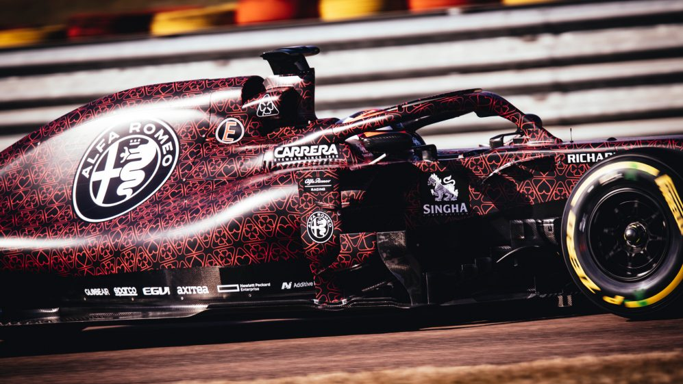 Kimi Raikkonen samples the 2019 Alfa Romeo - in a special Valentine's Day livery - at Fiorano in Italy
