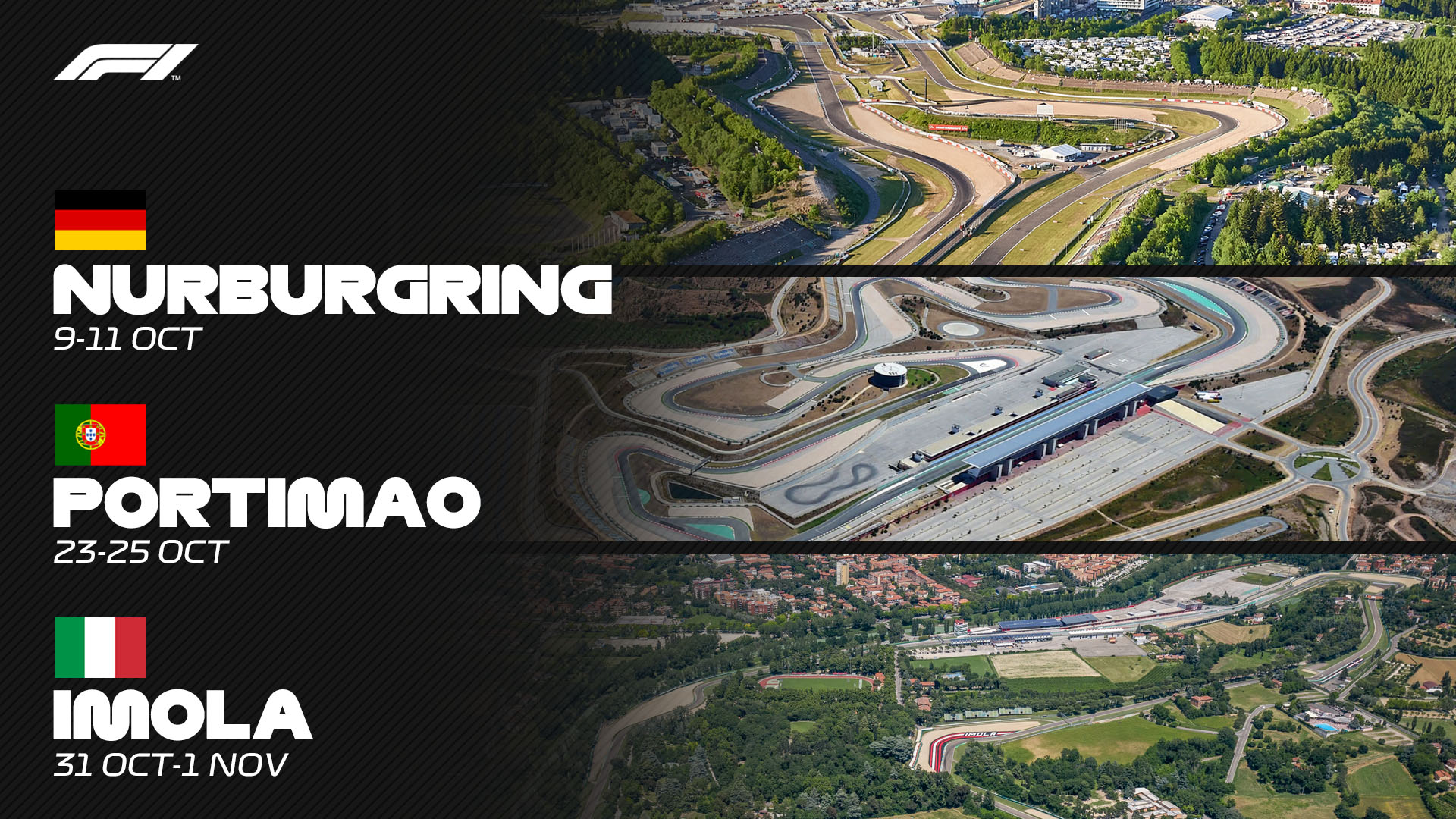 Formula 1 Adds Portimao Nurburgring And 2 Day Event In Imola To 2020 Race Calendar Formula 1
