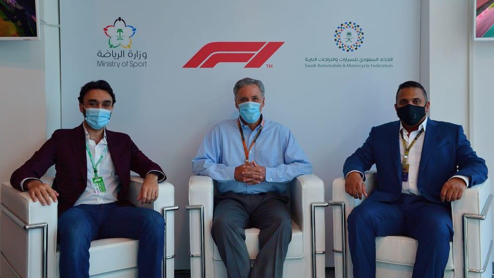 SAUDI ARABIA INTO THE HOST 1 YEAR 2021 recipe LR Prince Abdulaziz Al Saud, Chase Carey + Prince Khaled Al Faisal - Imola.jpg