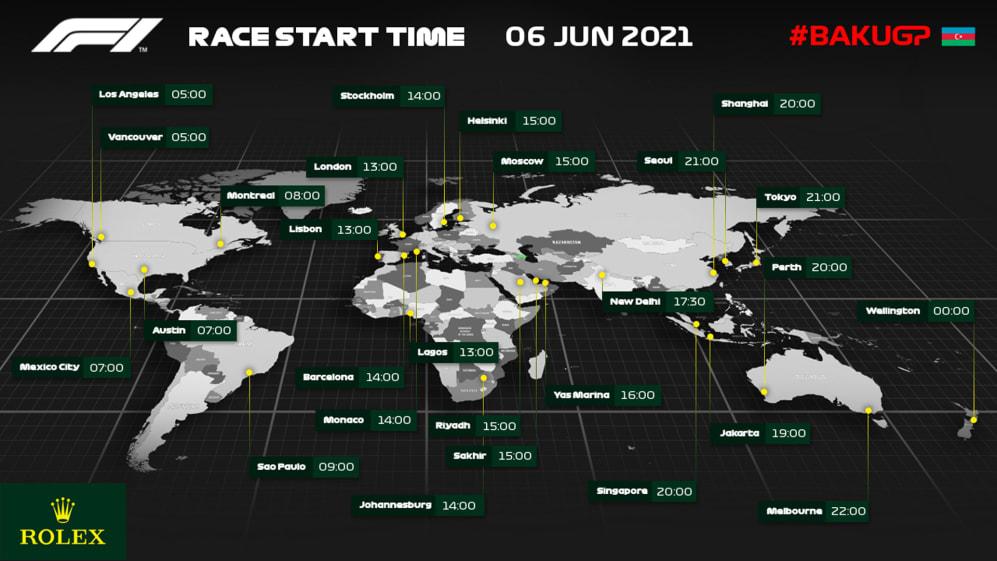 Baku GP 2021 race start time by f1.com