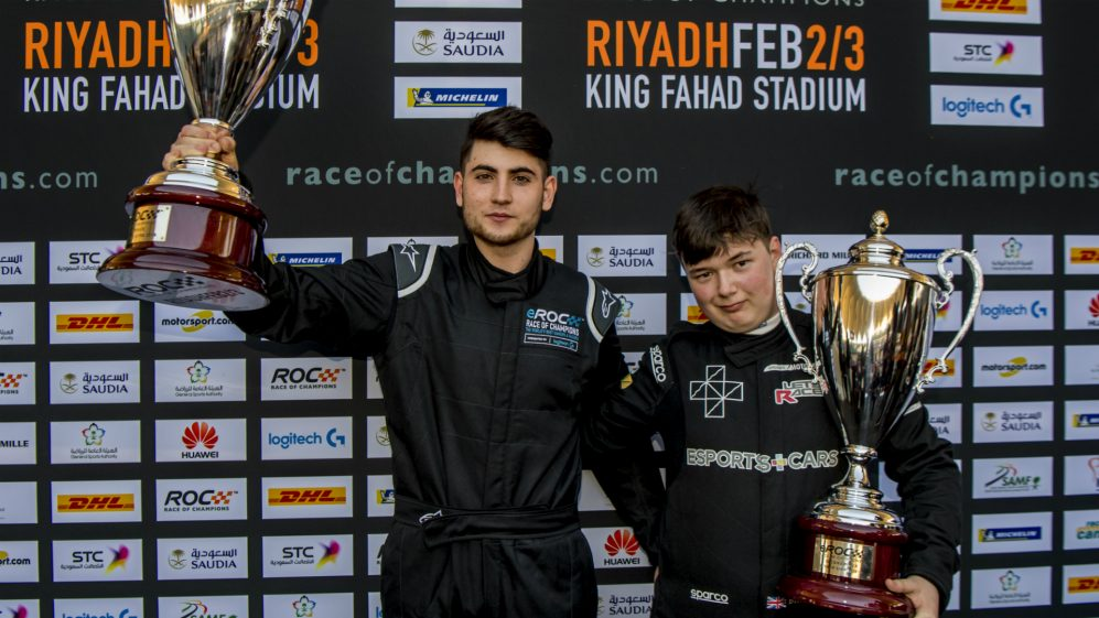 Winner Enzo Bonito (ITA) and runner up Brendon Leigh (GBR) celebrate with their trophies during eROC on Friday 2 February 2018 at King Fahad Stadium Riyadh Saudi Arabia.jpg