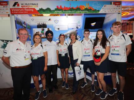 Dr Mehander Singh and Vicki Treadell meet Victorum Racing, F1 in Schools World Finals, Kuala Lumpur, Malaysia, September 2017