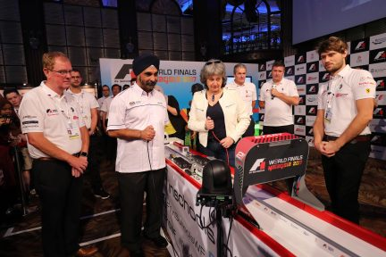 Opening ceremony flag-off race, with Dr Mehander Singh and Vicki Treadell, F1 in Schools World Finals, Kuala Lumpur, Malaysia, September 2017