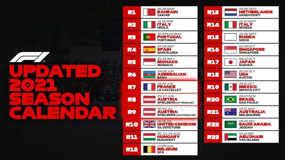 Calendrier F1 2022 Pdf 2021 F1 race calendar updated, as Turkey drops off and extra