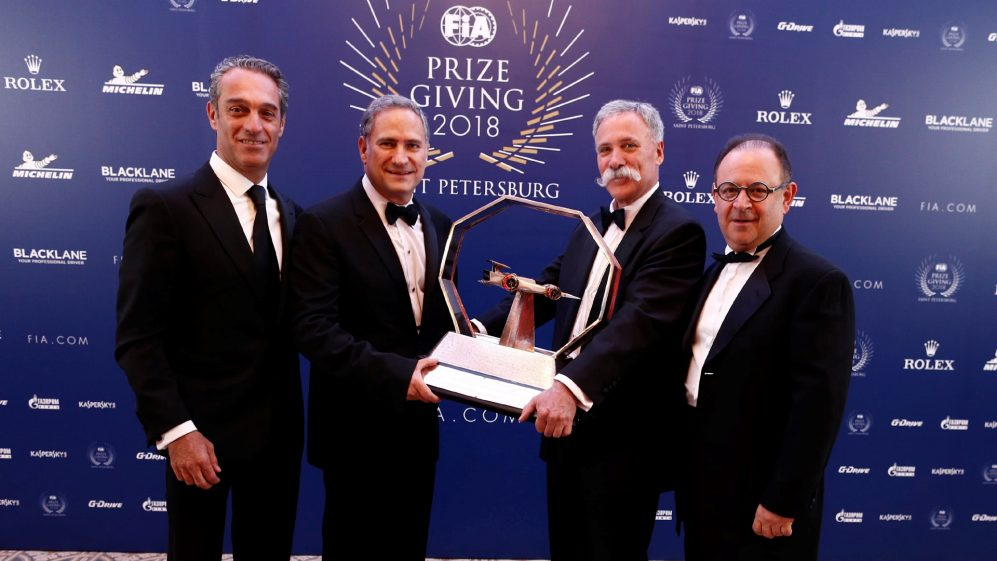 The Mexican Grand Prix promoters collect the 2018 Best Promoter Award from Chase Carey, Chairman and CEO of Formula 1, St Petersburg, Russia, December 7, 2018