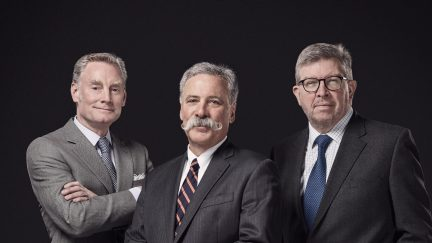 (L to R) Sean Bratches, Managing Director, Commercial Operations, Formula 1; Chase Carey, Chairman and CEO, Formula 1; Ross Brawn, Managing Director, Motor Sports, Formula 1