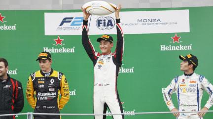 George Russell Monza podium.jpg