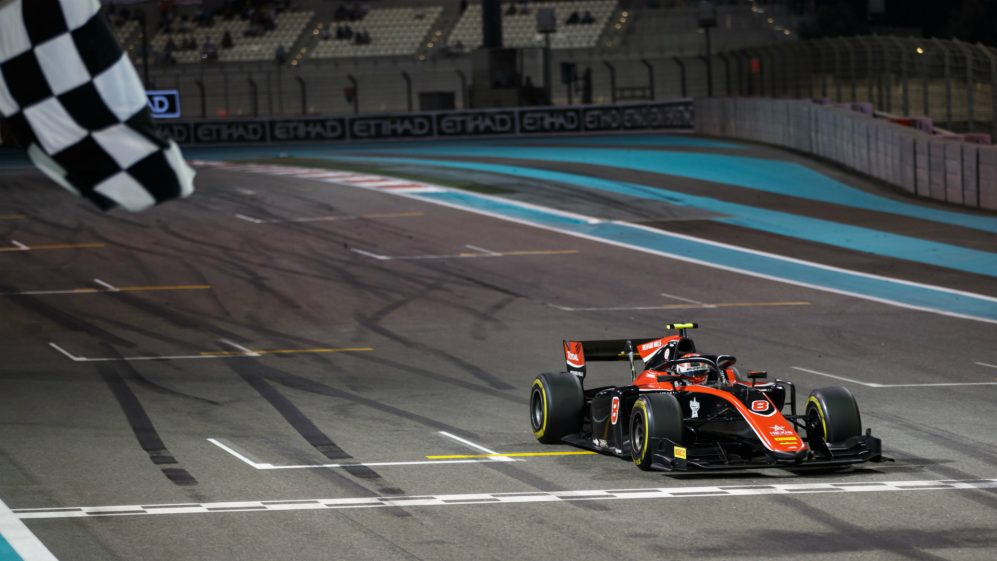 George Russell chequered flag Abu Dhabi.jpg