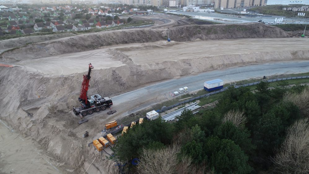 Construction of circuit updates at Zandvoort, host of the 2020 Dutch Grand Prix, December 2019.