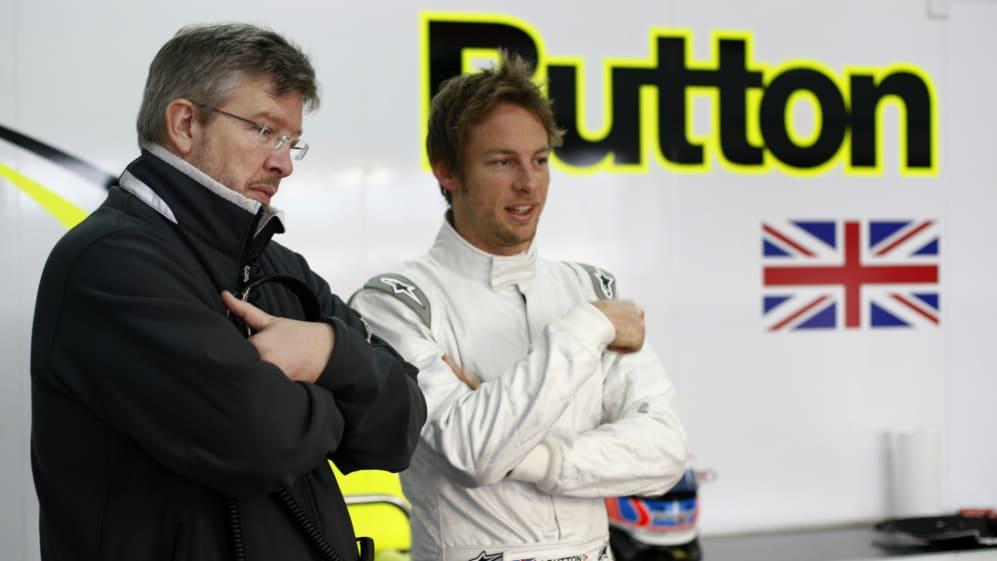 Circuit de Catalunya Barcelona Spain 9th March 2009 Ross Brawn Team Principal and Jenson Button.jpg