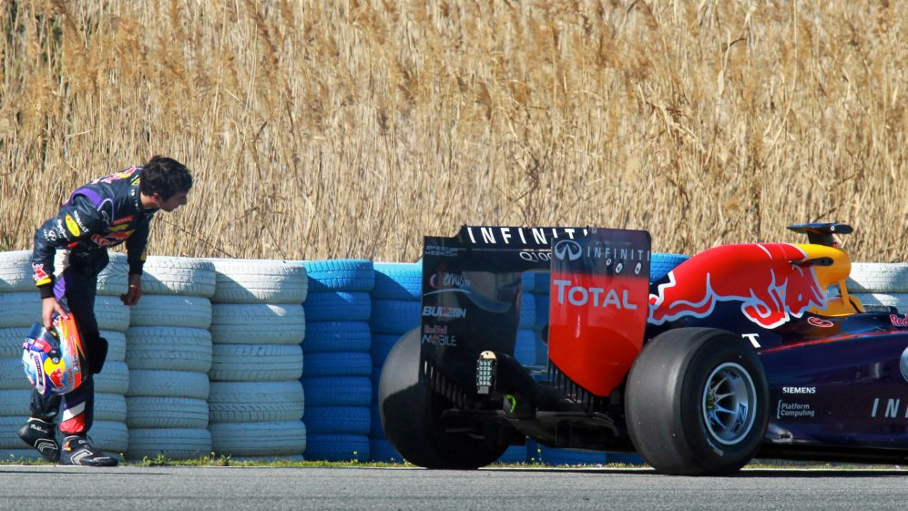 Daniel Ricciardo AUS Red Bull Racing RB10 stopped out on track Formula One Testing Jerez Spain Day T.jpg