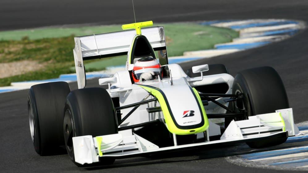 Rubens Barrichello BRA Brawn Grand Prix BGP 001 Formula One Testing 15 March 2009 Jerez Spain.jpg