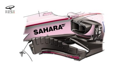 Force India VJM10 - barge boards, Russia
