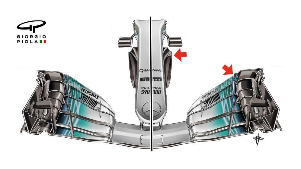 Mercedes F1 W08 - Belgium front wing