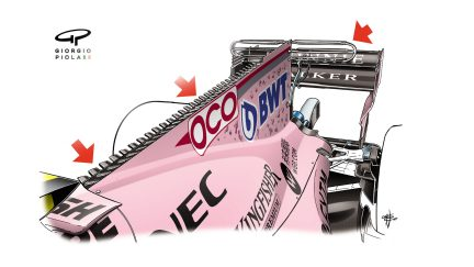 Force India VJM10 - Singapore engine cover