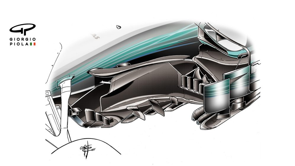 Mercedes F1 W08 - Japan barge boards