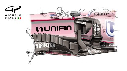 Force India VJM10 - Mexico barge board