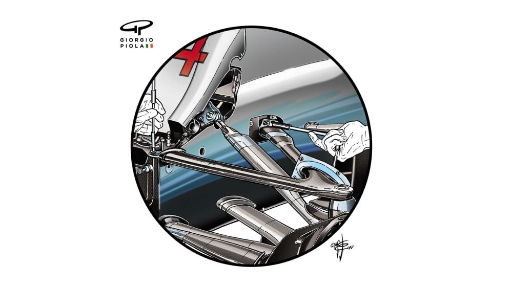 Mercedes F1 W08 - Brazil front suspension
