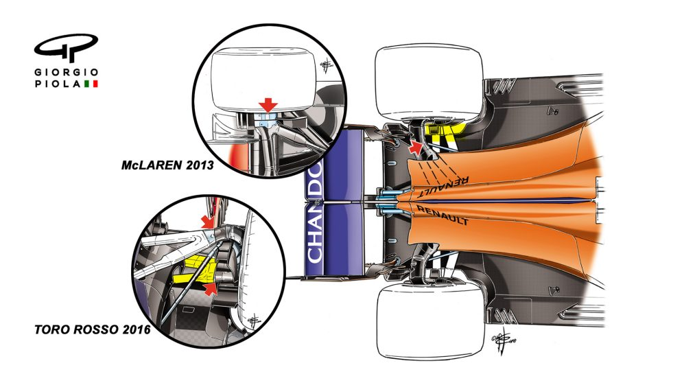 McLaren MCL33 - rear suspension, first test