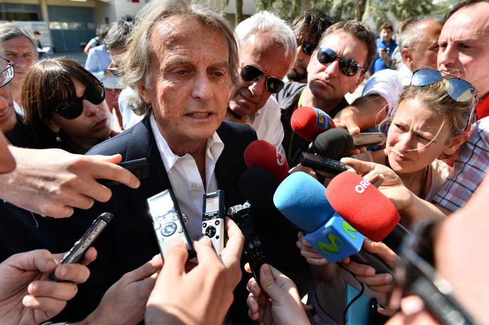 Luca di Montezemolo (ITA) Ferrari President talks with the media