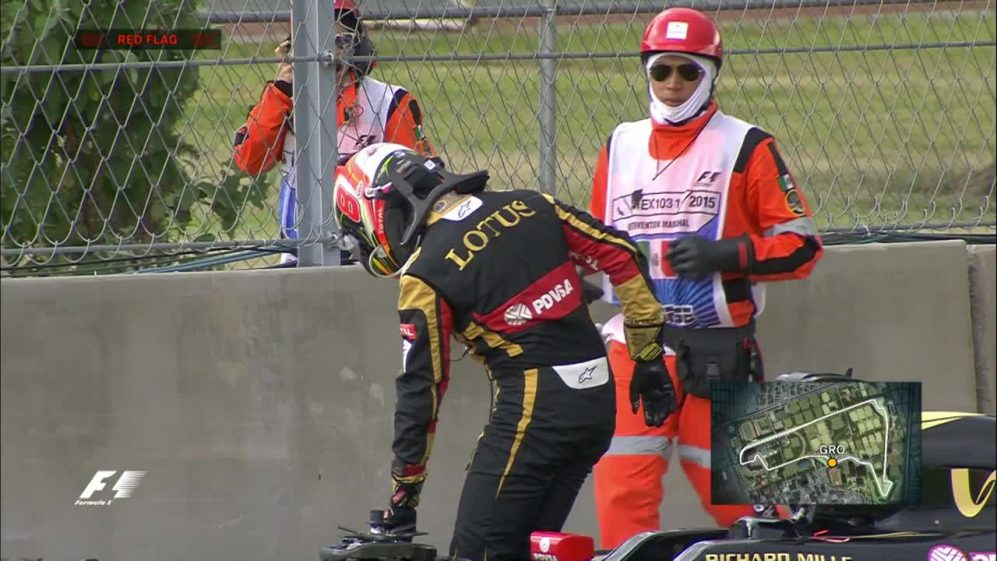 FP2: Grosjean mechanical problem brings out the red flag