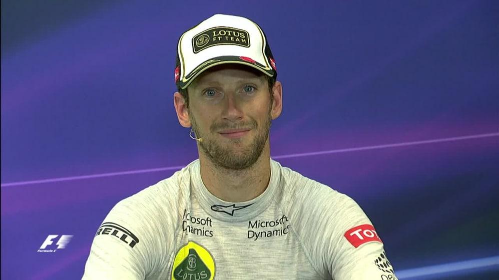 Interview post-course avec Romain Grosjean