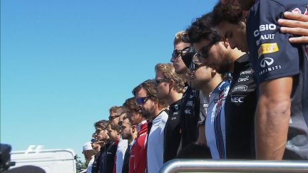 A minute silence for Justin Wilson on the grid in Italy