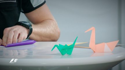 Perez and Hulkenberg take on the origami challenge