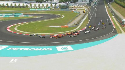 Race: First-turn collision ends Vettel's race