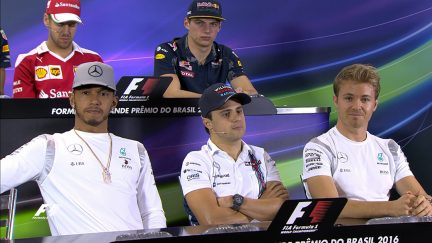 Drivers face the press in Brazil