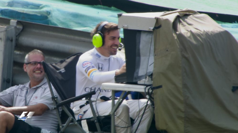 FP2: Alonso turns F1 cameraman after breakdown