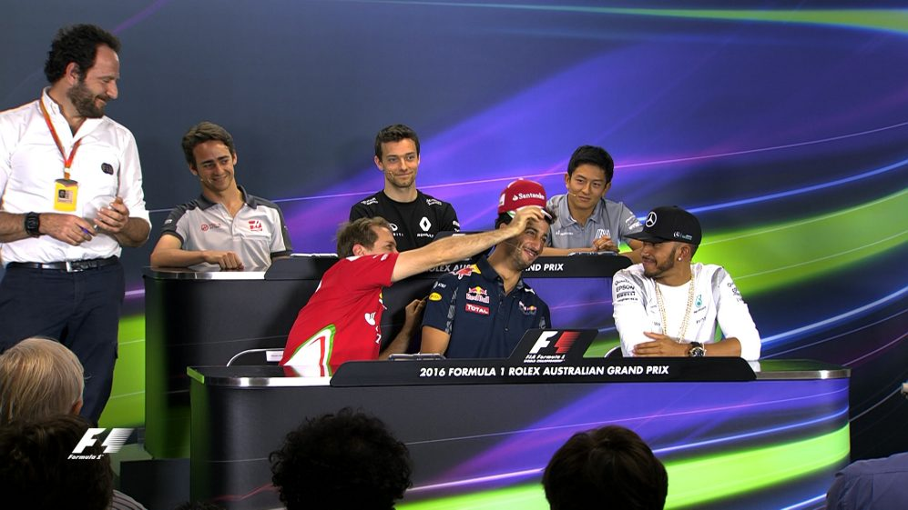 The drivers face the press in Melbourne