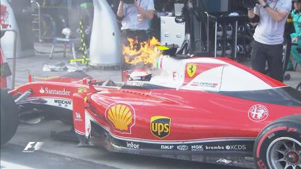 Race: Raikkonen retires with flames pouring from his Ferrari