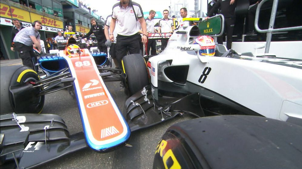 FP3: Drama in the pit lane as Haryanto and Grosjean collide