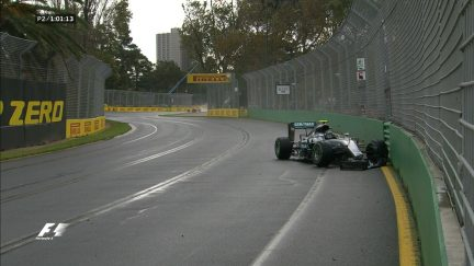 FP2: Rosberg prangs the barriers, loses front wing