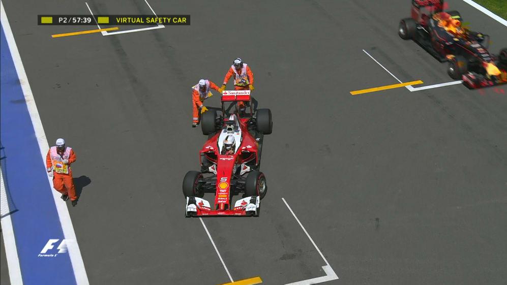 FP2: Power loss brings Vettel to halt