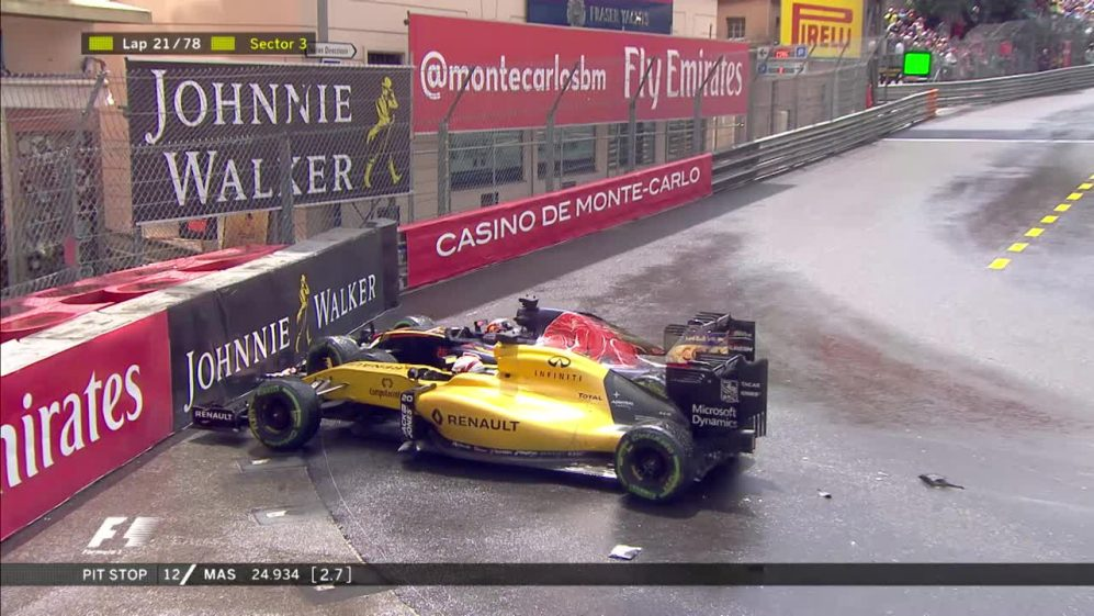 Race: Kvyat and Magnuessen collide at Rascasse