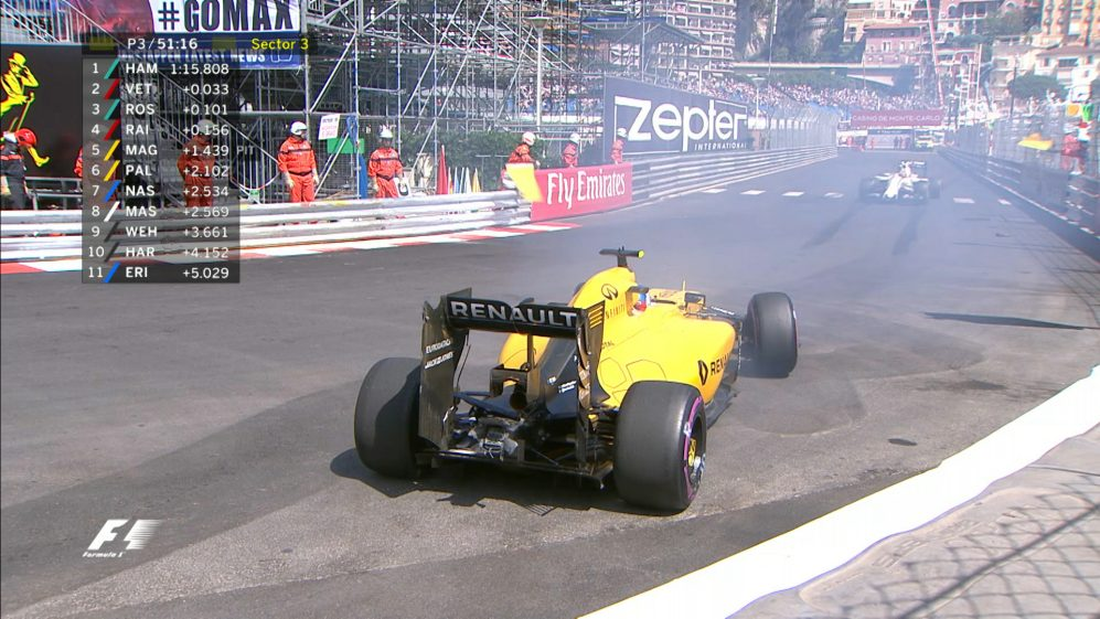 FP3 - Palmer loses control at the swimming pool