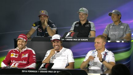The drivers face the press in Baku 2016