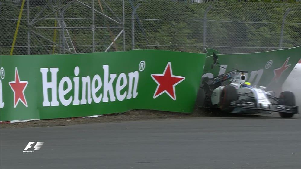 FP1: Massa backs it into the Turn 1 barriers