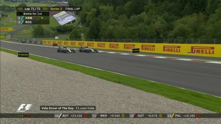 Race: Hamilton takes victory after late tangle with Rosberg