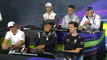 The drivers face the press in Great Britain 2016