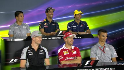 The drivers face the press in Germany
