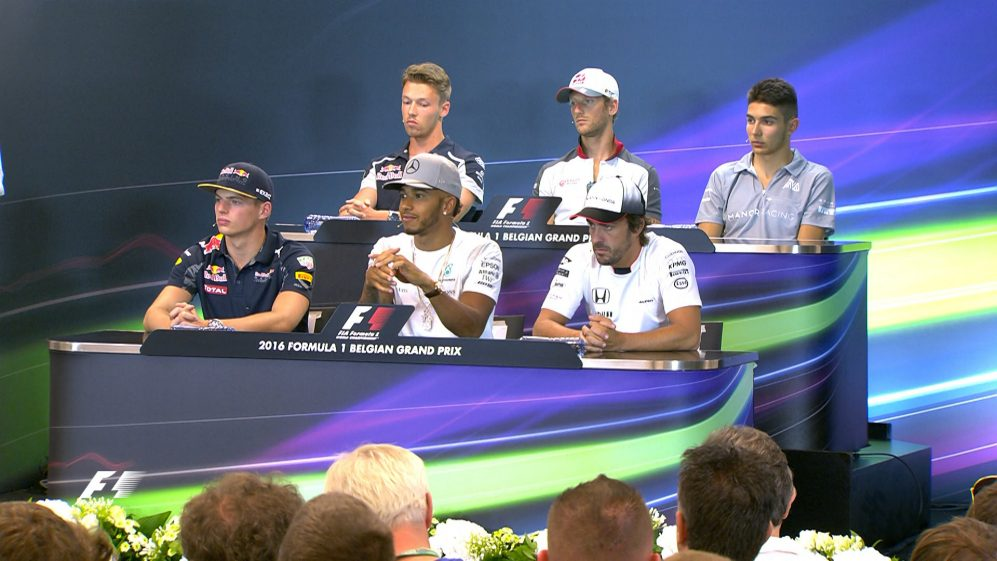 The drivers face the press in Belgium 2016