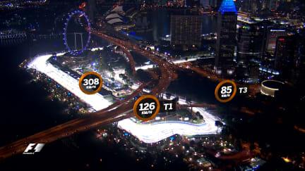 A bird's-eye view of the Marina Bay Street Circuit